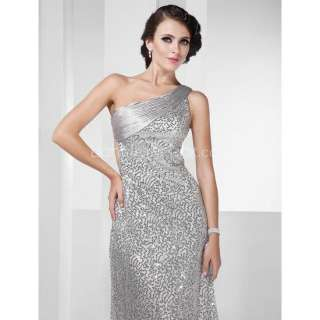 Silver Sexy Stunning One Shoulder Sequined Long Prom Party Gown