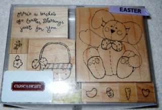 Rubber Stamp Set Easter Bunny Egg Basket of Blessings Saying +