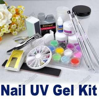 French Nail Art Tips Kit Set Tool Acrylic Powder Nail Brush