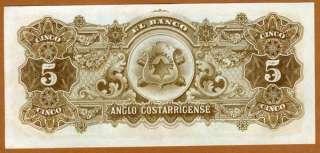 Costa Rica, 5 Colones, 1911   1917 P S122r, aUNC