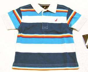 NAUTICA Toddler Boys Size 2T Blue/White/Red Stripe Polo Shirt NWT $32