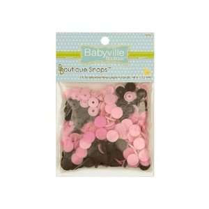 Babyville Boutique Snaps Mod Girl Flower Brown/Pink By The
