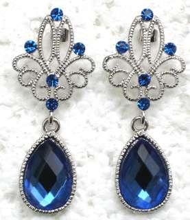 BLUE RHINESTONE CRYSTAL DANGLING PIERCED EARRINGS C398
