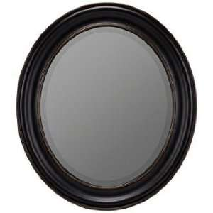 Willoughby Distressed Black 30 High Oval Wall Mirror