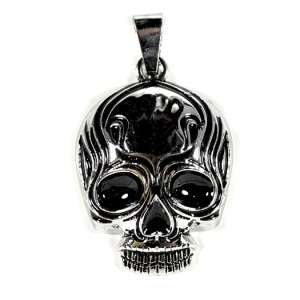 STAINLESS STEEL TRIBAL SKULL PENDANT Charm Jewelry Goth Flaming Biker