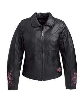 NWT Harley Davidson Ladies Blissful Black/Pink Leather Jacket 97068