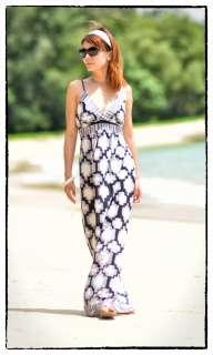 Geometric Print Boho Summer Beach Long Maxi Dress Sz 8 10