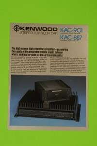 Vintage 1982 Car Stereo Brochure for Kenwood KAC 901 & KAC 887 Power