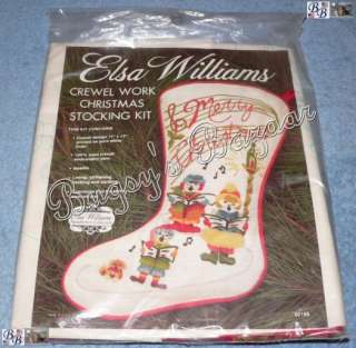 Elsa Williams CHRISTMAS CAROLERS Crewel Stocking Kit