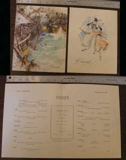Two Cunard Ocean Liner Menu 1954 & 1962 Cruise Ship