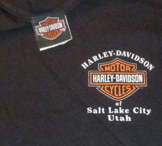 HARLEY DAVIDSON T Shirt SALT LAKE CITY Vintage BLACK Motorcycle BIKER