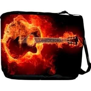 Rikki KnightTM Flaming Guitar Messenger Bag   Book Bag