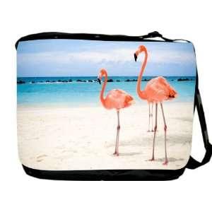 Rikki KnightTM Pink Flamingos on Beach Messenger Bag   Book