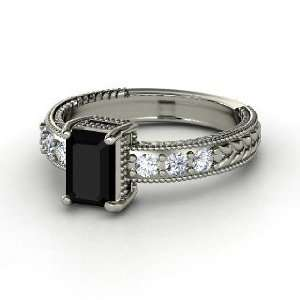 Ring, Emerald Cut Black Onyx 14K White Gold Ring with Diamond Jewelry