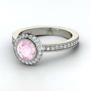 Roxanne Ring, Round Rose Quartz 14K White Gold Ring with