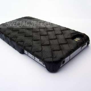DESIGNER BLACK WOVEN HARD CASE COVER for IPHONE 4 4G