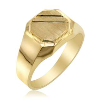 MENS 14K SOLID YELLOW GOLD SIGNET RING BAND