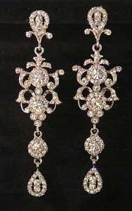 NEW 4 CLEAR CRYSTAL CHANDELIER SILVERTONE BRIDAL EARRINGS JEWELRY $88