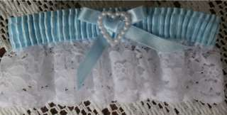 NWT WHITE LACE BLUE SATIN PEARL HEART BRIDAL PROM WEDDING GARTER