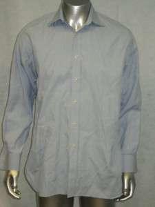 Mens CHARLES TYRWHITT Blue Cotton Striped Dress Shirt Sz 16 34