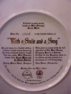 Walt Disney Snow White With A Smile And A Song Plate
