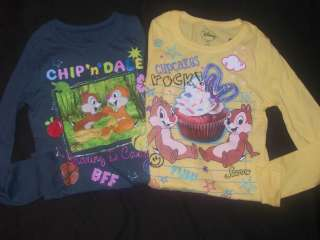 DISNEY~CHIP N DALE~GIRLS SHIRT~MULTI SIZES~GLITTERY SPARKLY~LONG