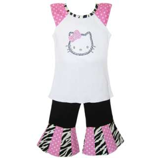 Boutique Hello Kitty Cap sleeve shirt & pants Outfit size 2 10
