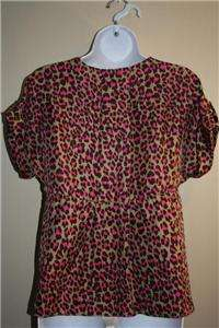 Womens MICHAEL KORS Brown/Pink/Taupe Leopard SILK Blouse SZ SMALL PET