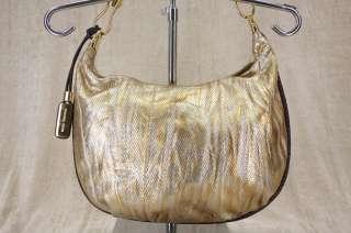 Michael Kors Skorpios Metallic Washed Gold Leather Crescent hobo bag $