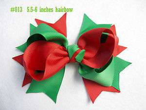 12 baby girl christmas boutique hair bows for crochet headbands 5.5