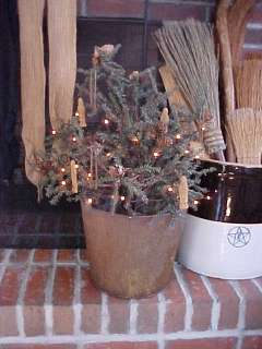 Primitive Twiggy Christmas Tree in Early Sap Bucket w/ Lights & Ornies