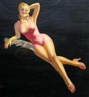 VINTAGE BILLY DEVORSS 40S PIN UP PRINT FRAMED PINK LADY BATHING BEAUTY