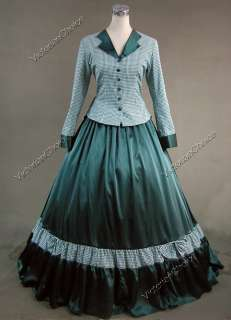 Civil War Victorian Gingham Ball Gown Dress Prom 122 L