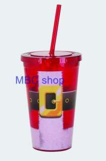 Holiday Theme Double Wall Insulated Clear Acrylic Tumblers Twist Cover