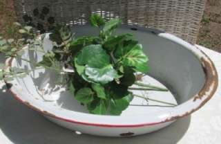 ANTIQUE WASH TUB BASIN WHITE ENAMEL BOWL RED TRIM OVAL SHAPED 18 X 13