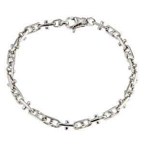 Silver Mens Handmade Bullet Link Bracelet Rhodium Plated 8 Jewelry