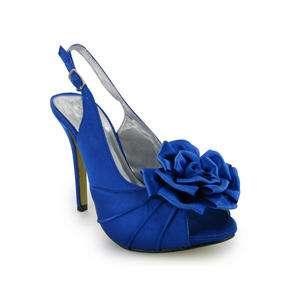 LADIES BLUE SATIN PEEP TOE WEDDING SHOES SIZE 3 8 BNIB