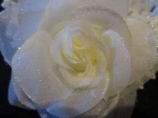 Sparkle Shimmer Rosette Flower Band Baby Cream Ivory Rose Hair Bow