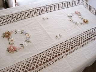 Hand Ribbon Embroidered Flower Crochet Table Cloth L
