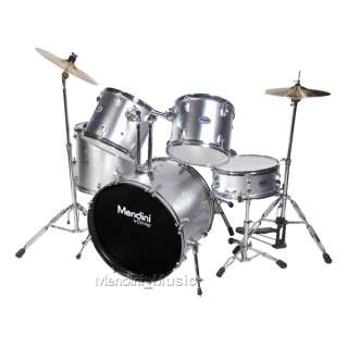 NEW 5 PIECE SILVER FULL SIZE DRUM SET +CYMBALS & THRONE