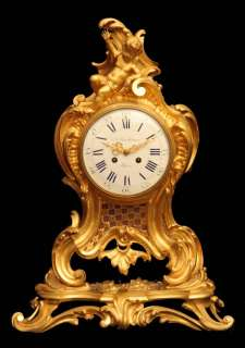 ANTIQUE FRENCH GOLD PLATED BRONZE BARBEDIENNE MANTEL CLOCK   MUSEUM