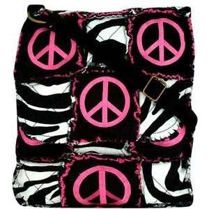 Patchwork Zebra Peace Sign Large Hipster Black & Pink