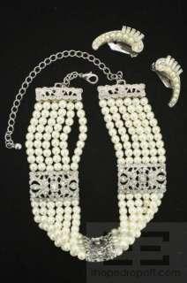Pearl Bead Choker Necklace & Earrings Costume Jewelry Set