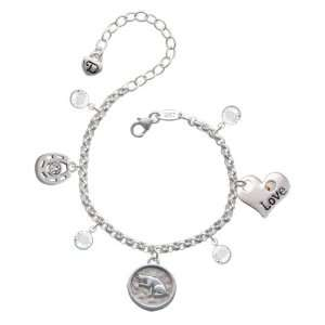 Sitting Cat   Round Seal Love & Luck Charm Bracelet with
