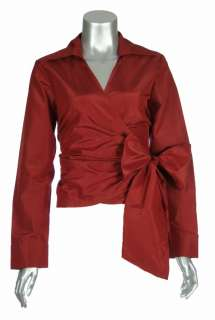 Sutton Studio Womens Silk Taffeta V Neck Wrap Blouse Top with Jewel
