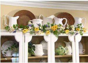 Daffodil and Crocus Prelit Garland by Valerie Parr Hill