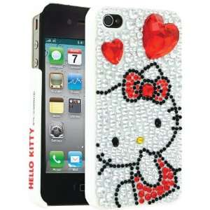 Hello Kitty Sanrio Cute White Red Hearts Crystalized