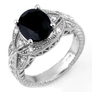 Genuine 4.25 ctw Blue Sapphire & Diamond Ring 10K Gold