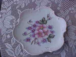 Hand Painted Sara Gary Floral Flowers Plate Pink Purple