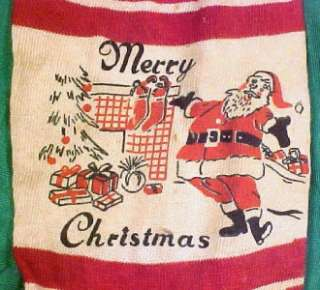 Vintage MERRY CHRISTMAS RED & WHITE STRIPED STOCKING Santa Fireplace
